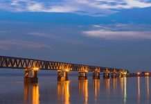 India : Bogibeel bridge in the Dibrugarh district of Assam.